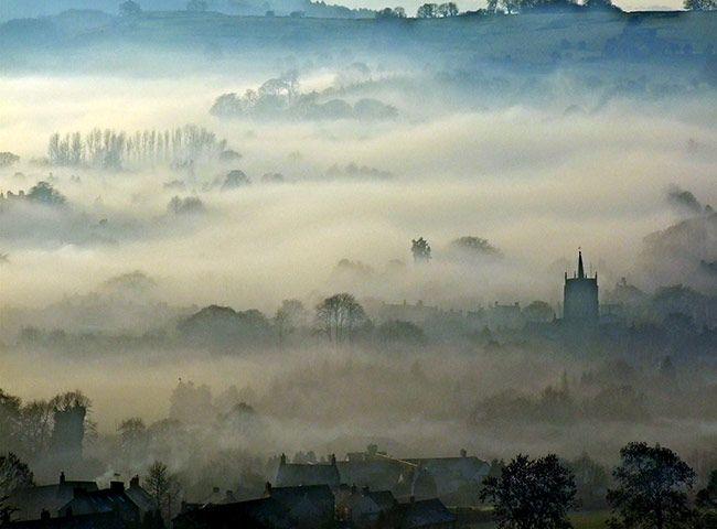"Phil Richards: ""Fog over Wirksworth, Derbyshire."