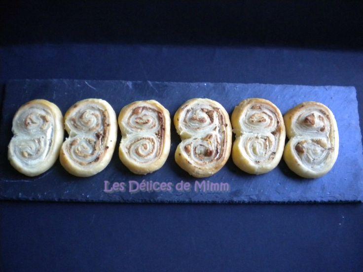 Palmiers feuilletés au fromage de chèvre, miel et noix 2