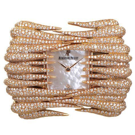 Audemars Piguet Lady's Rose Gold Diamond Set Givrine Wristwatch | From a unique collection of vintage wrist watches at https://www.1stdibs.com/jewelry/watches/wrist-watches/
