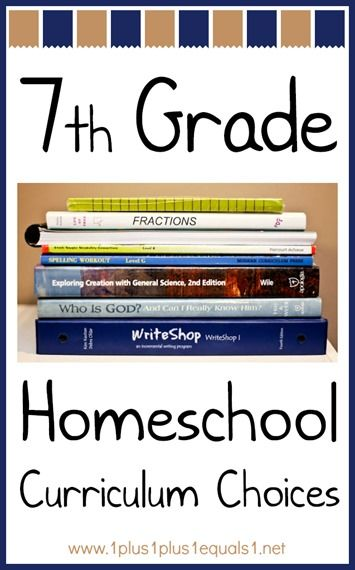 7th Grade Homeschool Curriculum Choices from @1plus1plus1