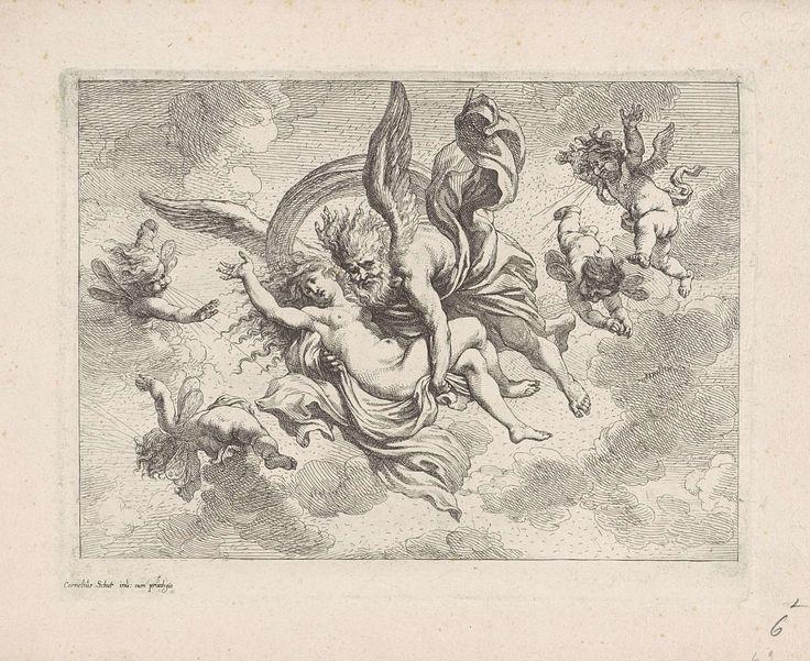 Cornelis Schut (I)   Boreas en Oreithyia, Cornelis Schut (I), unknown, 1618 - 1655   Boreas vliegt weg met de wanhopige Oreithyia in zijn armen. Om hen heen vliegen blazende putti.