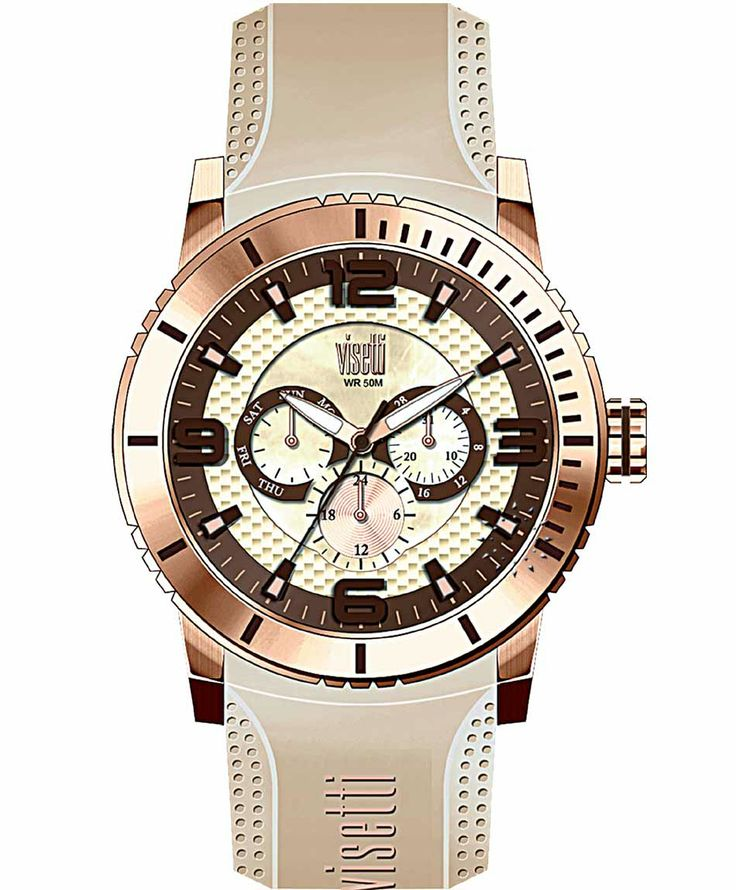 VISETTI New Era Rose Gold Beige Rubber Strap Μοντέλο: PE-750RL Τιμή: 120€ http://www.oroloi.gr/product_info.php?products_id=39494