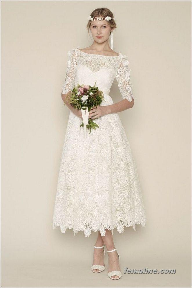 111 elegant tea length wedding dresses vintage vintage for Elegant tea length wedding dresses