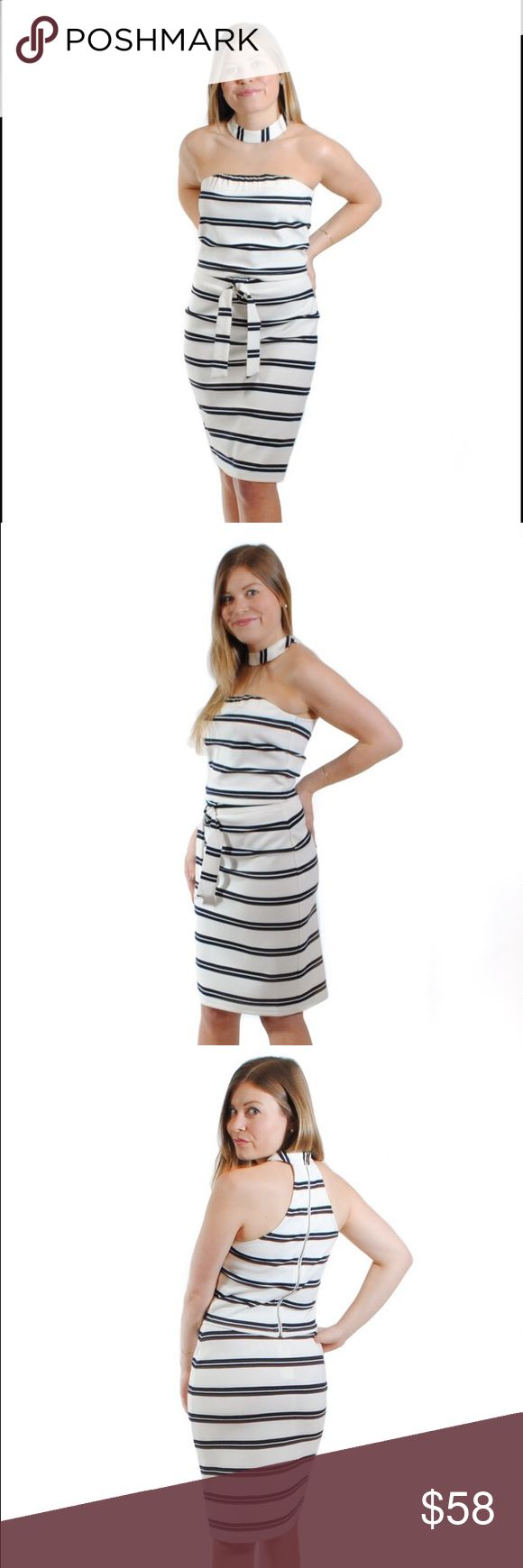 Jeanne Set Watch the sunset over the harbor with this nautical summer set! The navy blue and white skirt features a tie waist and the top has a racerback and collar neckline. Feel secure with the zipper back closure. Pair with your understated single-strap heeled sandal for a classic look!  54% Rayon, 43% Polyester, 3% Spandex  size + fit: Model is 5ft 3in and wearing a size small. Fit runs true to size. Other