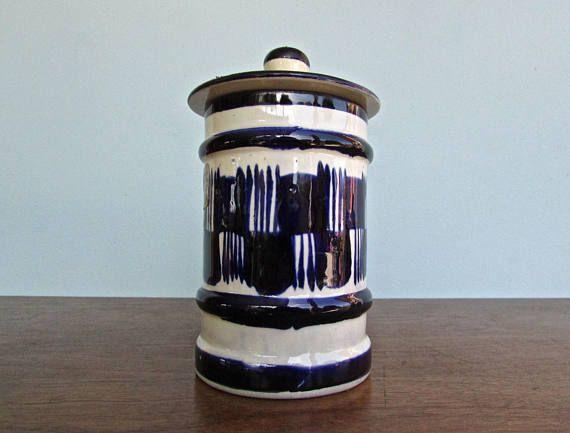 Made in Oaxaca 20th Century Mexican Ceramic Jar Moroccan Influenced Shape /& Danish Decoration
