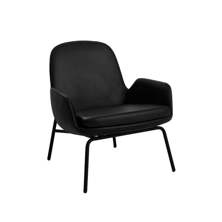 Era loungestol låg - Era loungestol låg - svart läder, svart stativ