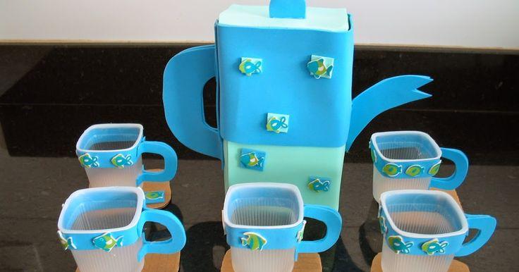 Veja que charme! Para confeccionar este jogo de chá de brinquedo você só precisará de  eva,  papelão,  copinhos de iogurte limpos e secos, ...