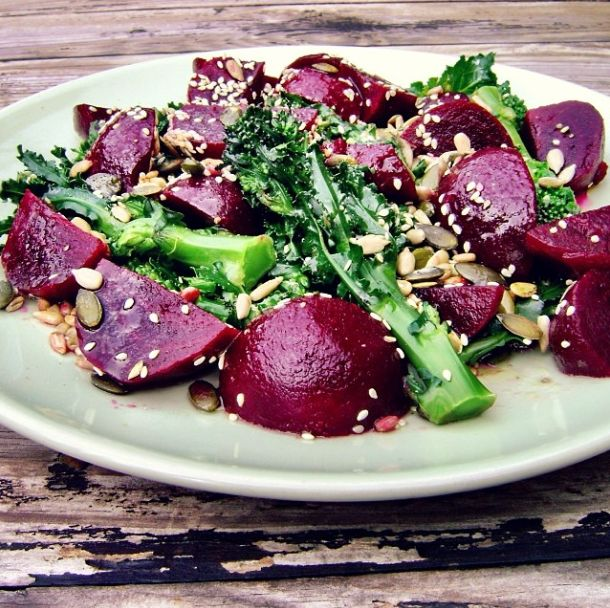 So super yummy, Beetroot and Sprouting Broccoli Salad, mixing in some Immune Chia+ Spread over the steamed veggies and a sprinkle of seeds (-: #mayvers #purestate #purplefoods #beetroot #lunch #soyummy #cleaneating #goodhealth