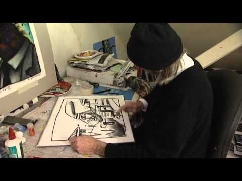 Reg Mombassa in his studio talking about artist practice. Yr 8 Urban unit.