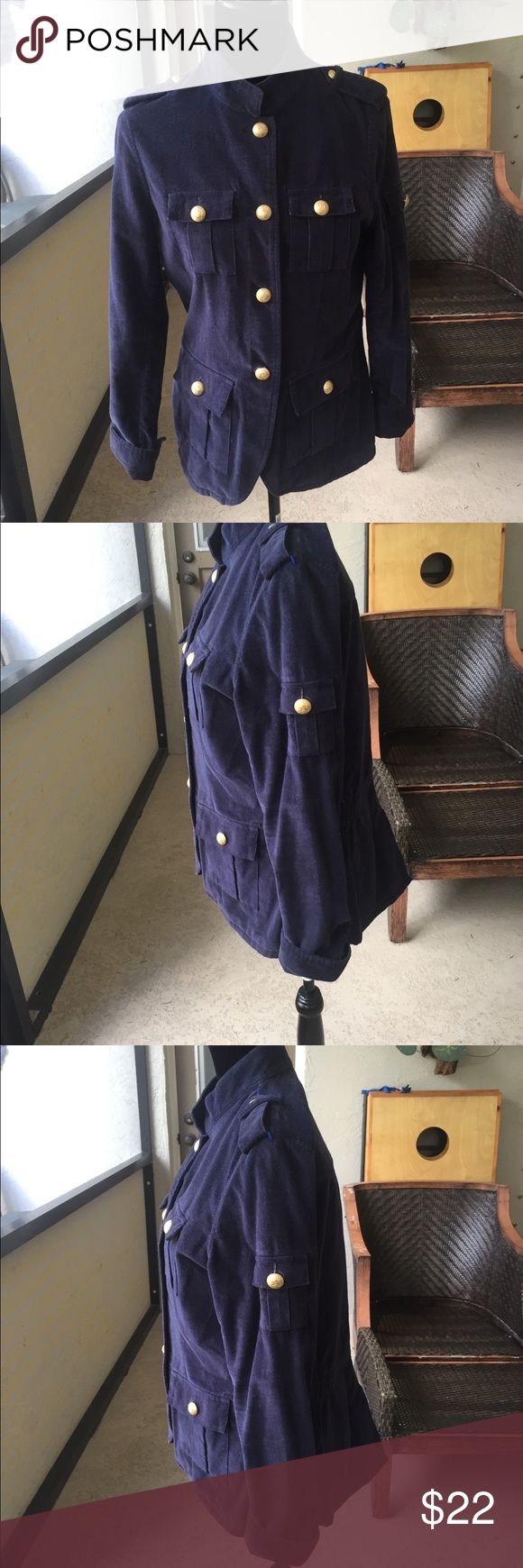 "Vintage IZOD Peacoat Size medium, 100% cotton  falls 25"" from top of shoulder, sleeves cuffed at 22"". Elastic band on sides for form fitting. Metal izod buttons. Beautiful jacket Izod Jackets & Coats Pea Coats"