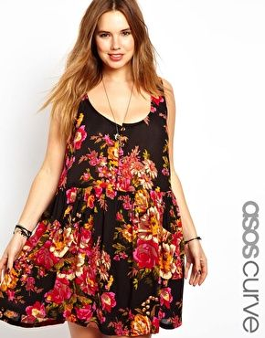 I owned something similar to this in 1991! lol  Image 1 ofASOS CURVE Pinafore Sundress In Floral Print