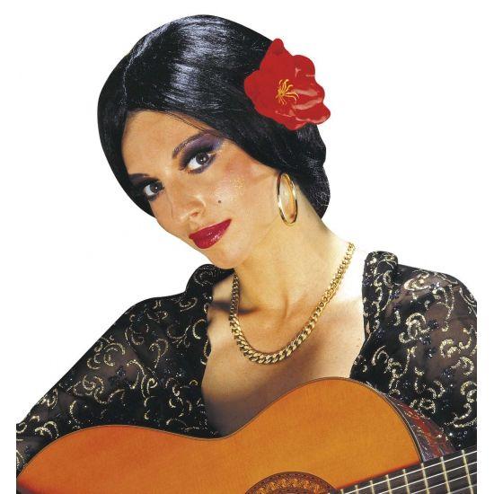 Zwarte Spaanse pruiken met bloem  Spaanse pruik met bloem. Deze zwarte pruik voor een Spaanse dame heeft een knotje en een grote rode bloem. Geschikt voor volwassenen.  EUR 13.95  Meer informatie