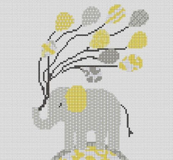 This is a counted cross stitch pattern of a pastel coloured patterned elephant with balloons, perfect for hanging in a nursery.(Like the pattern but not