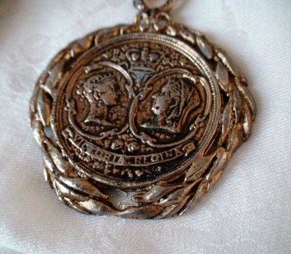 Victoria Regina Medallion on Heavy Rich by vintageheartstrings, $25.00