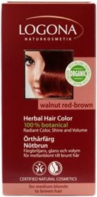 Logona Herbal Hair Colour Powder Walnut Red Brown for medium-blonde to medium-brown hair. The herbal hair colours are especially gentle & lasting. The herbal hair colour covers every hair. Organic henna powder & other colouring plants, in addition to caring botanical ingredients like organic jojoba oil provides radiant colour, shine & volume. Logona Organic. Vegan. http://www.theremustbeabetterway.co.uk/logona-herbal-hair-colour-powder-walnut-red-brown.html