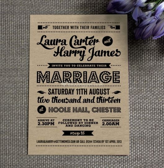 Retro wedding invitation <3 themarriedapp.com  hearted <3