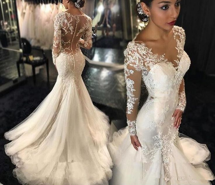 This haute couture long sleeve wedding gown has beautiful embroidery art work on the sheer upper bodice and sleeves. A #bridal gown designs like this could be costly. But our #American based dress design firm can make a #replica of any haute couture dress that will look similar but cost much less. Get pricing on custom wedding dresses & replicas at www.dariuscordell.com