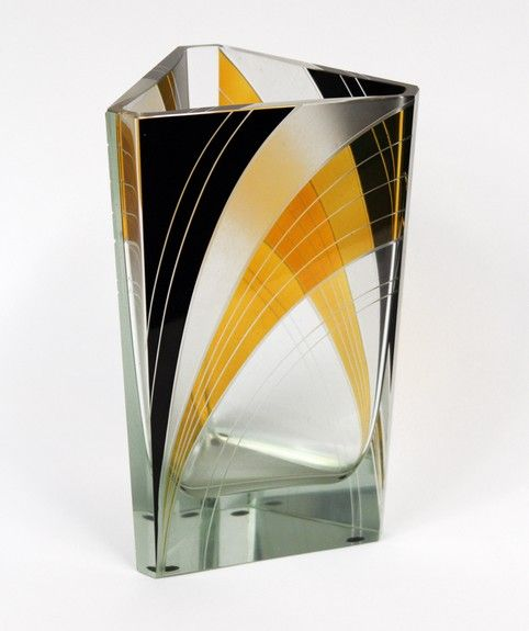 Art Deco vase    by PALDA, Karl -A cut and enameled in black and amber glass vase. Made in Bohemia Circa: 1930