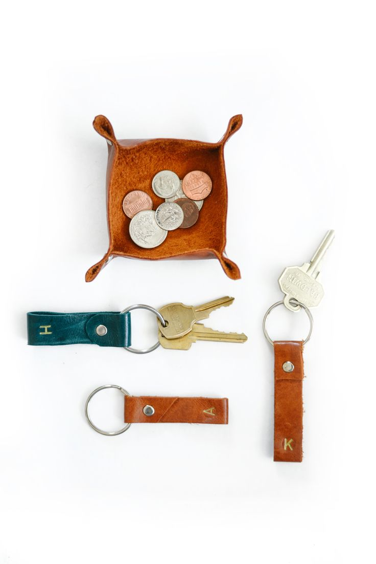 Use scraps of leather to make simple keychains - these make great gifts!
