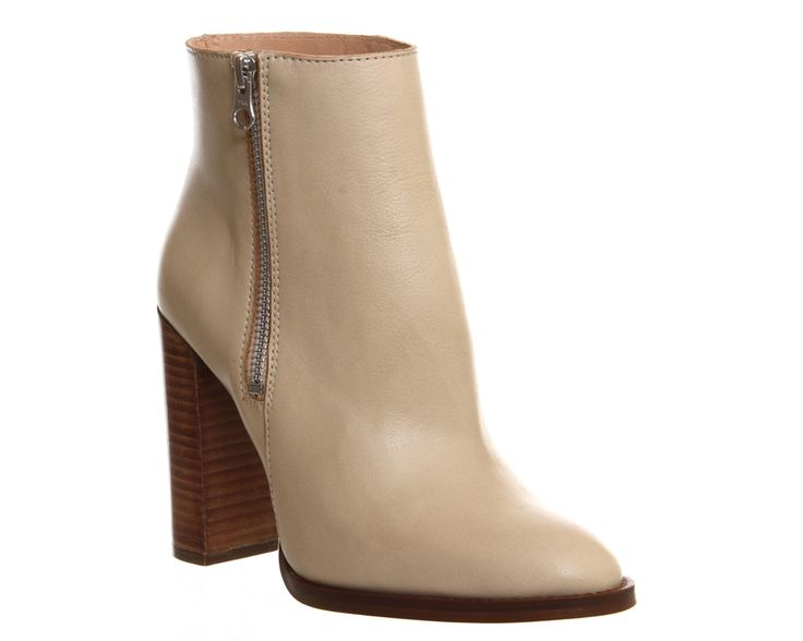 Office Frenzy Slim Heel Zip Boot Light Camel Leather - Ankle Boots