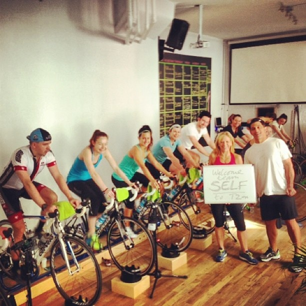 Spin class on a REAL bike. Holy workout #SelfMagazine