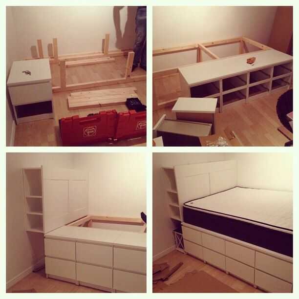 how to build a bed with ikea malm dressers ikea ikeahack malm brimnes bo mys pinterest. Black Bedroom Furniture Sets. Home Design Ideas