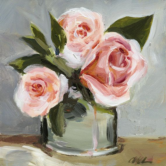 Original Painting  Still Life Flowers  Roses by ShadyRill on Etsy