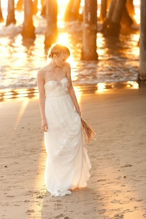 beautiful strapless sweetheart empire waist long chiffon beach wedding dress