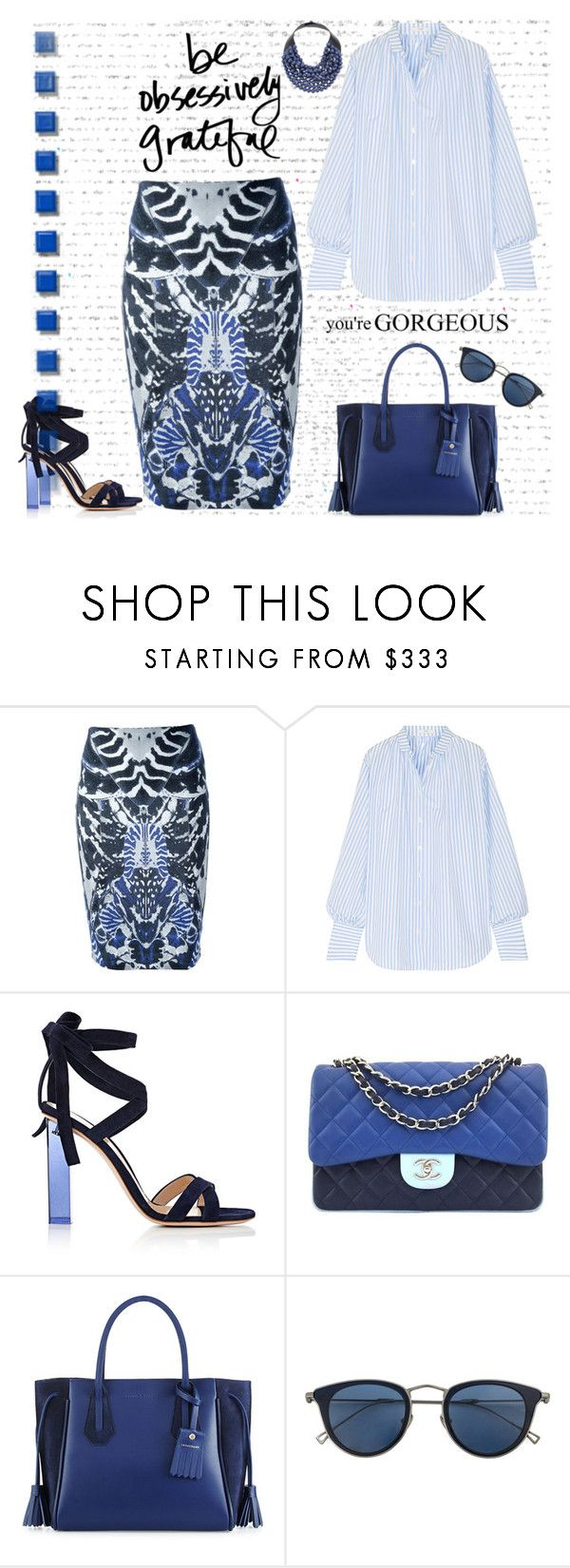 """""""Untitled #1551"""" by jothomas ❤ liked on Polyvore featuring McQ by Alexander McQueen, Tome, Gianvito Rossi, Chanel, Longchamp, Issey Miyake and Rossana Fani"""