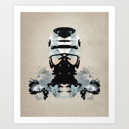 Rorschach Robocop | Textured Art Print by Normal-Sized Deet | Society6