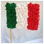 Mexican crafts for kids  Mexican flag with green, white, and red tissue paper stuck to glue.  Paper sombrero hat: paper plate and styrofoam cup.  Beaded clay pinch pots