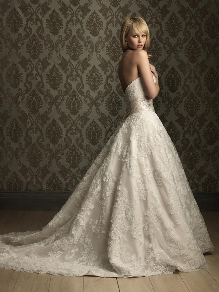 Elegant Lace Applique Ball Gown Ruched Waistband Wedding Dress
