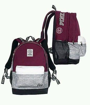 Victorias Secret PINK Campus Backpack Bookbag Black Orchid Burgundy Victoria's