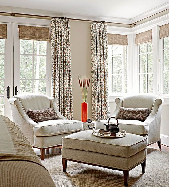 bamboo shades added for a texture and curtains for privacy