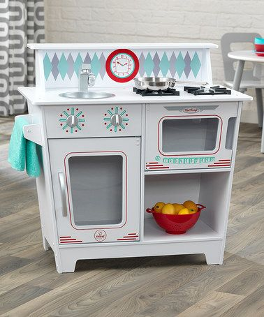 White Kitchenette Play Set #zulilyfinds - Fun!  I like that it includes a sink, towel bar, range, refrigerator and a section that could be either an oven or a microwave, all in a pretty small space.