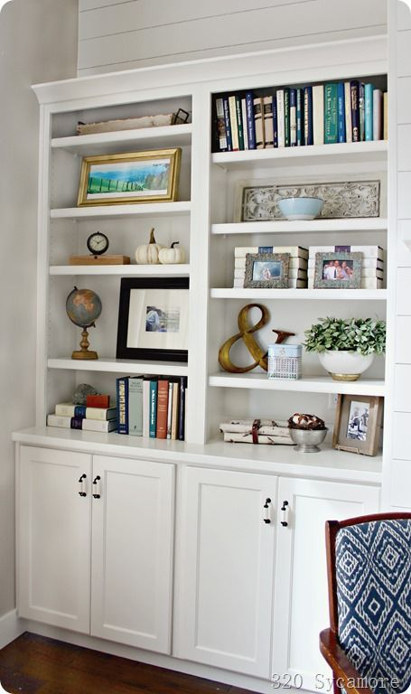 "I laugh at the word ""shelfies."" I think it's so clever and I would so much rather take shelfies than selfies!   I decided to of restyle the shelves after the gallery wall was finished because I didn't"