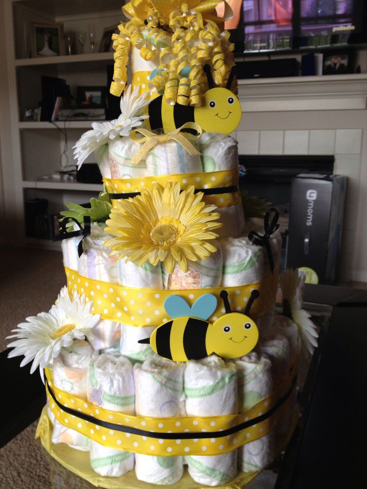 Burts Bees Diaper Cake With Bee On Top