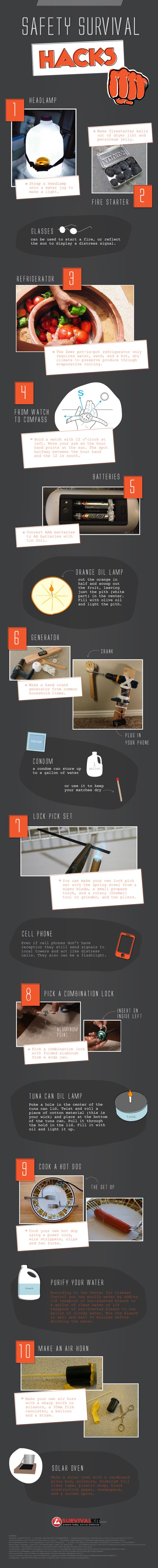 Survival hacks infographic