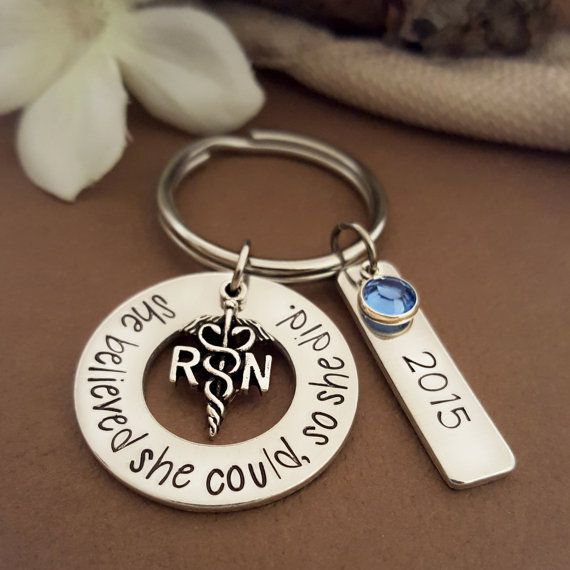 She Believed She Could So She Did RN Key chain. Created by www.PocketsOfMischief.com #GiftForNurse #NurseGrad #RNGifts