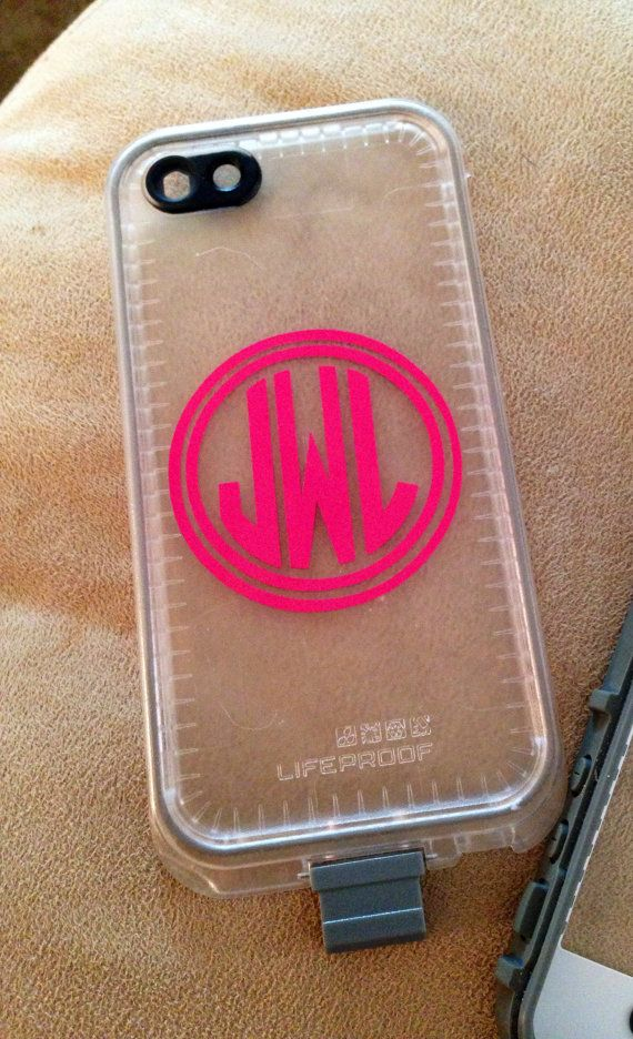 Lifeproof Case Monogram Decal 2 inch Vinyl Personalized Sticker Free Shipping in USA on Etsy, $2.75