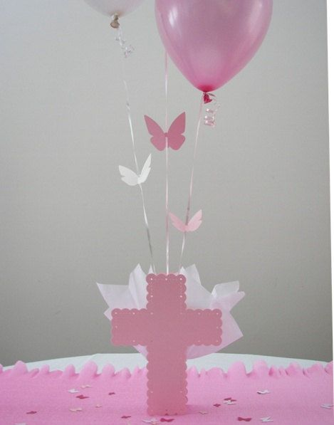 Baptism Cross Balloon Centerpieces with Flying Butterflies and Personalized Butterfly \u0026 Cross Table Sprinkles at SetToCelebrate & 91 best Baptism Decorations Party Supplies and Ideas for ...