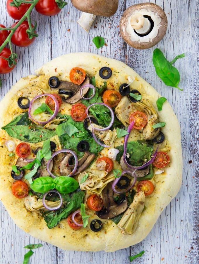 Hummus Pizza with Veggies