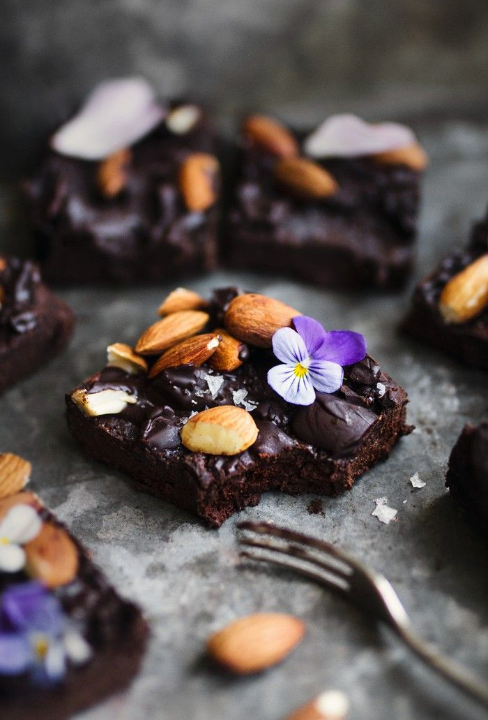 Gluten-Free Chickpea Brownies with Sea Salt and Almonds Recipe