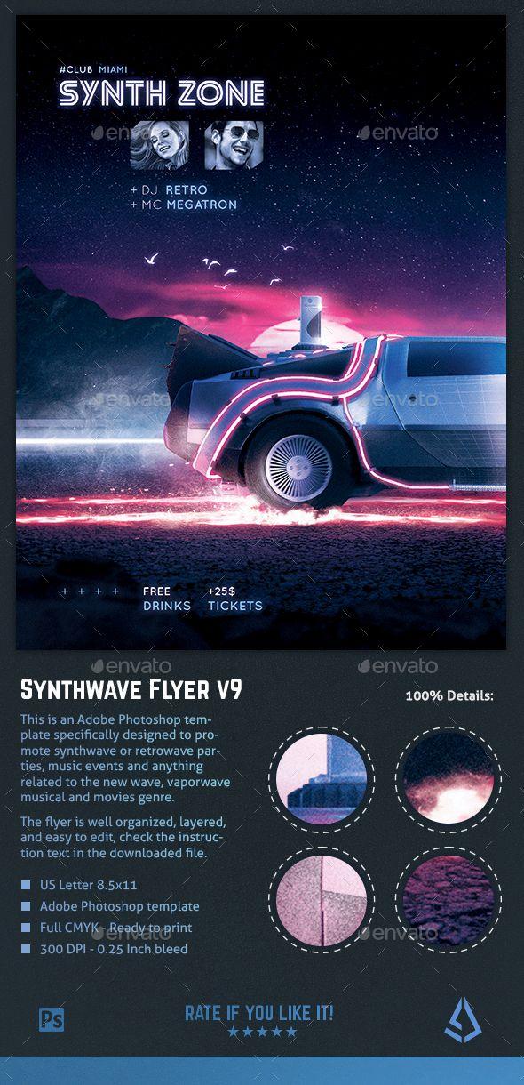 Synthwave Flyer v9 Retrowave 80s Neon Vaporwave Poster Template PSD