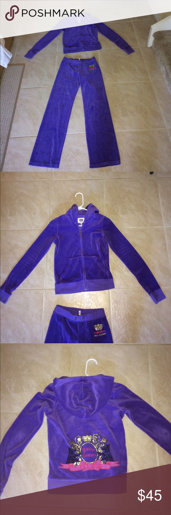 Purple Juicy Couture Sweatsuit Juicy couture purple sweatpants with matching jacket! Girls extra large. Like new condition! Juicy Couture Matching Sets