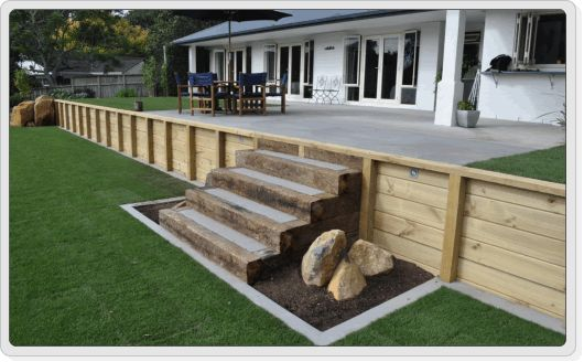 wood retaining walls with stairs | Retaining Walls