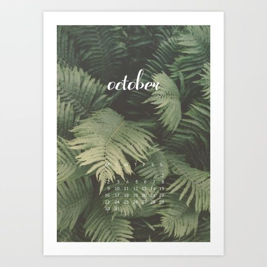 October 2017 Calendar Art Print