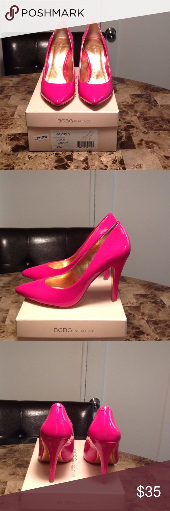 BCBG Hot Pink Pumps 👠 BCBGeneration Hot Pink (Guava) color heeled pumps. Size 7M. Heel is 4 inches high. Comes with original box. Tiny damage on one heel - see photos. BCBGeneration Shoes Heels