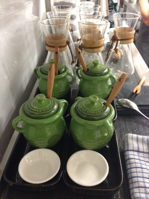Le Creuset Olive Jars At Vincent French Dining Room In Woollahra