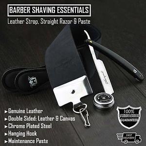 a straight razor black colour mens shaving set with leather strop paste 3pcs